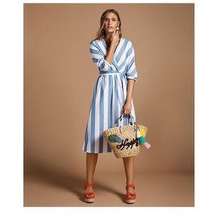 Pure Cotton Striped Midi Dress Size: Large Petite
